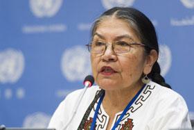 La periodista quechua Tarcila Rivera, defensora de los derechos de las comunidades indígenas de Perú, en marzo de 2015. Crédito: UN Media/ Mark Garten.