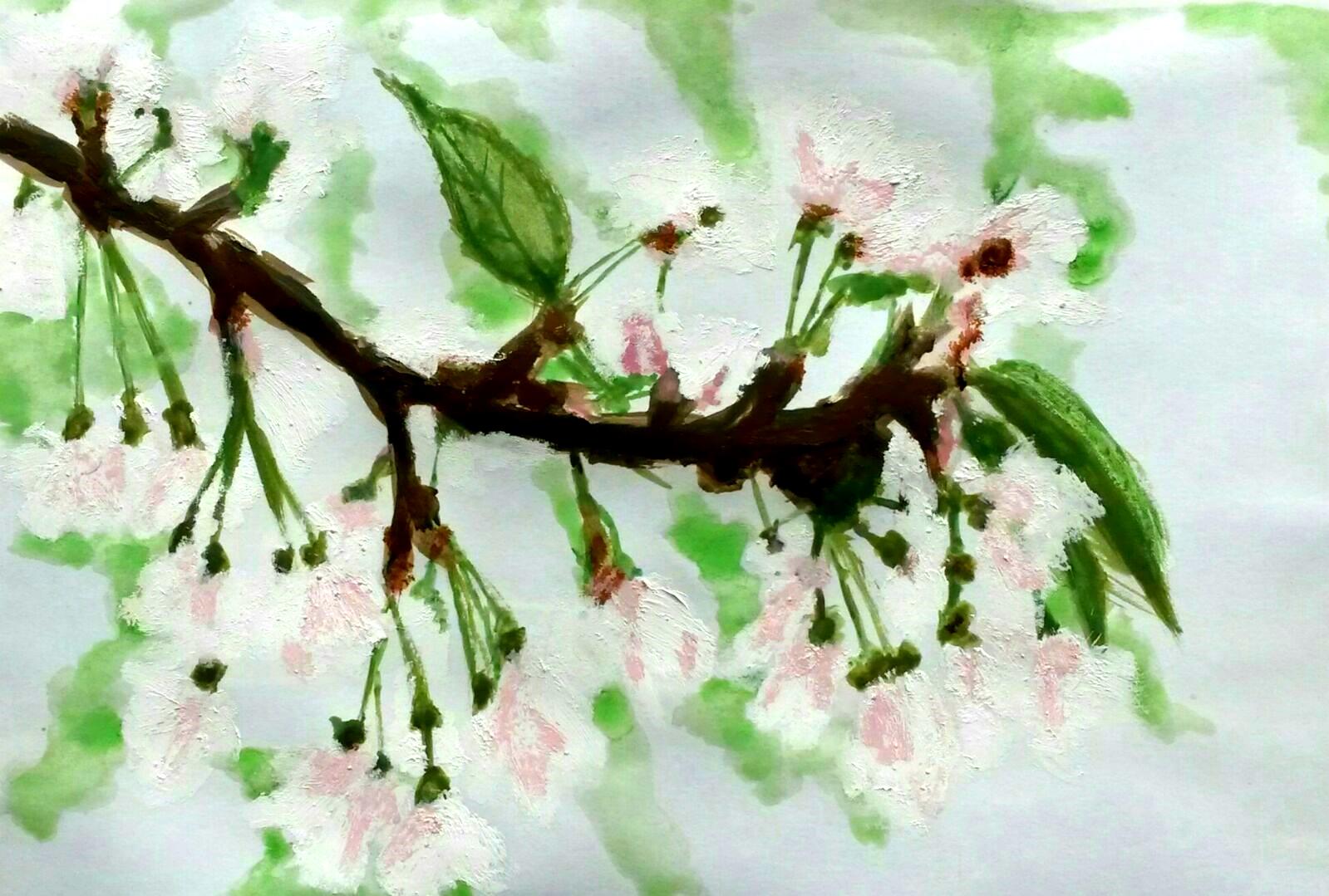Flores del Cerezo - R. Leiva (T. Mixta óleo y acuarela)
